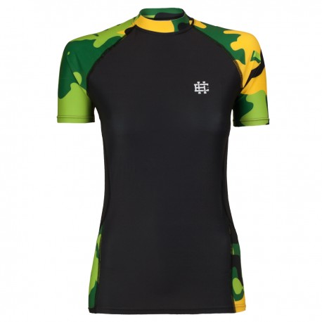 Short sleeve rashguard women WORKOUT green
