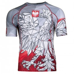 Short sleeve rashguard POLSKA grey-red